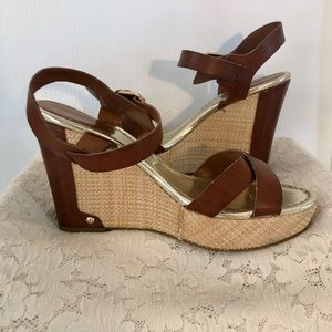 LC brown and Rafa wedges w gold accents 8.5